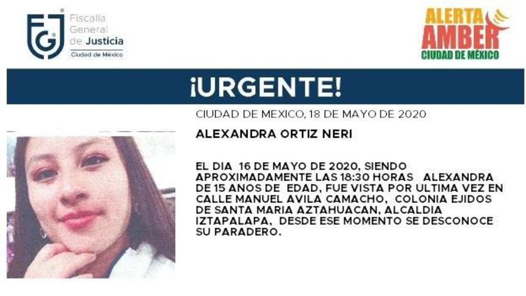 FOTO: Activan Alerta Amber para localizar a Alexandra Ortiz Neri, el 19 de mayo de 2020