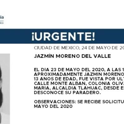 FOTO: Activan Alerta Amber para localizar a Jazmín Moreno del Valle, el 25 de mayo de 2020