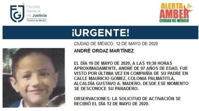 FOTO: Activan Alerta Amber para localizar a André Ordaz Martínez, el 13 de mayo de 2020