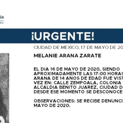 Activan Alerta Amber para localizar a Melanie Arana Zárate