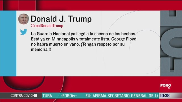 anuncia trump que guardia nacional se encuentra en minneapolis minnesota