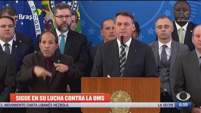 FOTO: 1 de mayo 2020, bolsonaro acusa a la oms de promover la homosexualidad