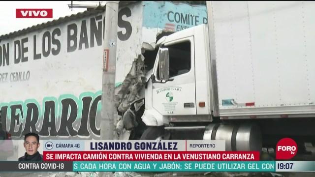 FOTO: 31 de mayo 2020, camion se impacta en vivienda en cdmx