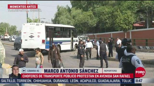 choferes de transporte publico protestan en tlalnepantla edomex