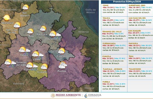 Pronóstico meteorológico domingo 31 de mayo.(Foto: https://smn.conagua.gob.mx/)