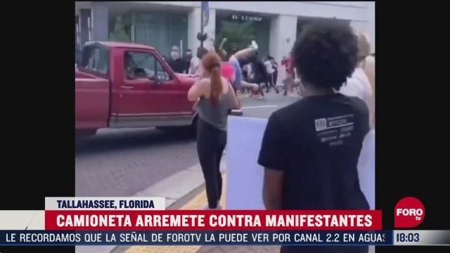 FOTO: 30 de mayo 2020, conductor embiste a manifestantes en florida