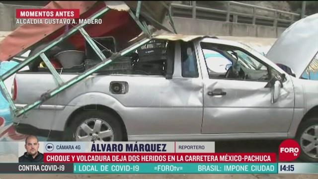 FOTO: 9 de mayo 2020, dos heridos tras choque y volcadura en la carretera mexico pachuca