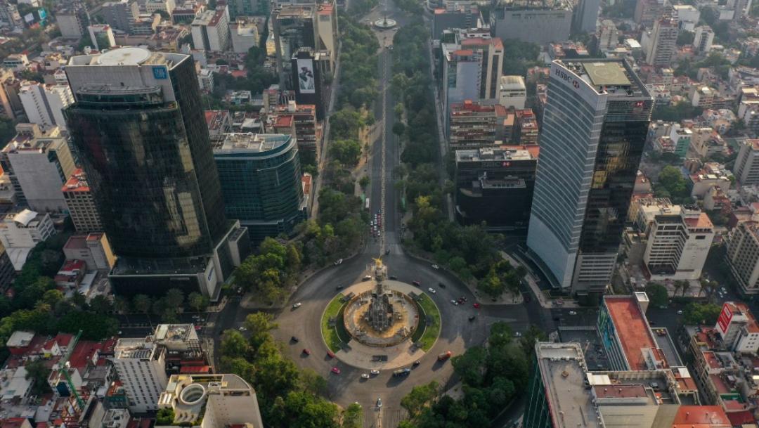 Paseo de la Reforma Vacio Ante contingencia por covid 19.Fotografía.