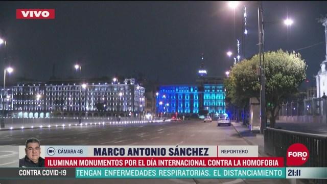 FOTO: 17 de mayo 2020, iluminan monumentos de la ciudad de mexico por dia internacional contra la homofobia
