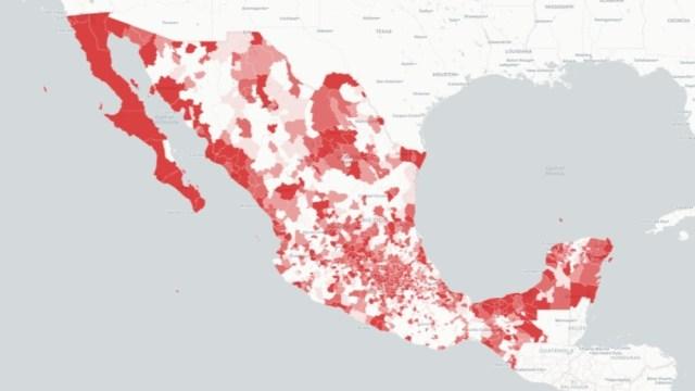 Mapa de casos de coronavirus en México. Ssa