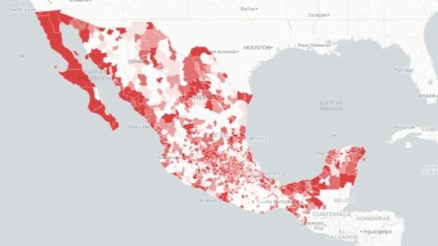 Mapa de los casos de coronavirus en México. Ssa