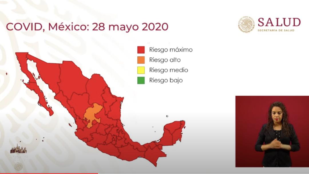 Imagen que muestra el mapa del semáforo COVID del día 28 de mayo. (Foto: Gobierno de México)