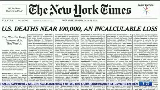 new york times publica portada especial por coronavirus