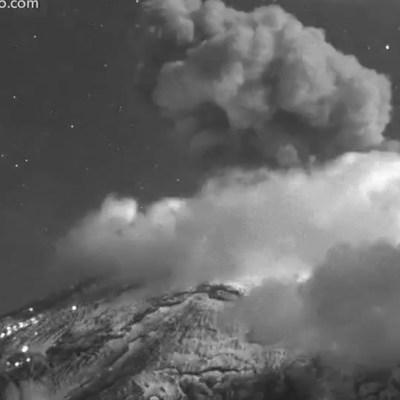 Popocatépetl registra explosión con expulsión de ceniza y fragmentos incandescentes