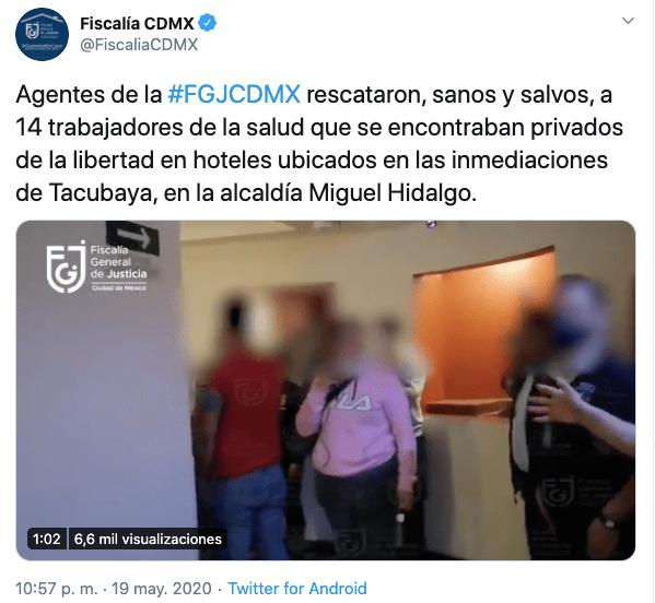 Tweet Fiscalía CDMX
