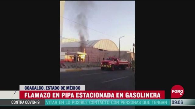 se registra flamazo en pipa estacionada en el estado de mexico