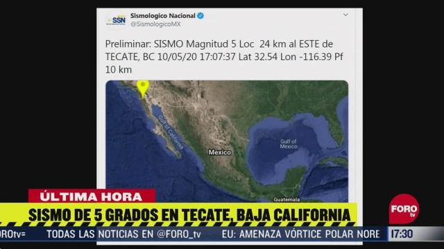 se registra sismo de magnitud preliminar 5 en tecate