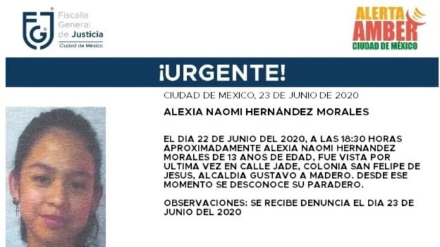 FOTO: Activan Alerta Amber para localizar a Alexia Naomi Hernández Morales, el 24 d ejunio de 2020