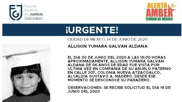 FOTO: Activan Alerta Amber para localizar a Allison Yumara Galván Aldana, el 17 de junio de 2020