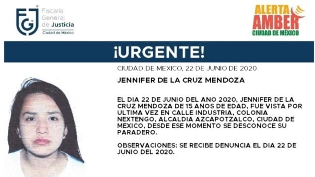 FOTO: Activan Alerta Amber para localizar a Jennifer de la Cruz Mendoza, el 23 de junio de 2020