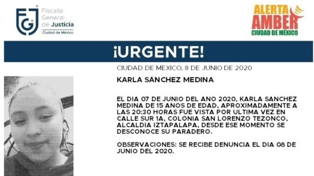 FOTO: Activan Alerta Amber para localizar a Karla Sánchez Medina, el 09 de junio de 2020