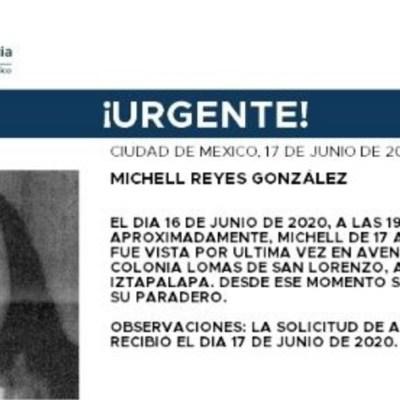 Activan Alerta Amber para localizar a Michell Reyes González