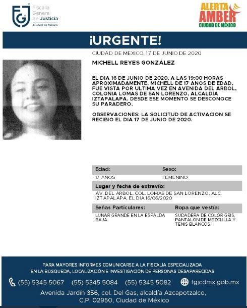 Activan Alerta Amber para localizar a Michell Reyes González. (Foto: @FiscaliaCDMX)