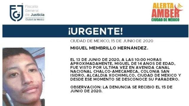 FOTO: Activan Alerta Amber para localizar a Miguel Membrillo Hernández, el 16 de junio de 2020