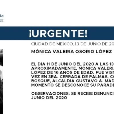 Activan Alerta Amber para localizar a Mónica Valeria Osorio López