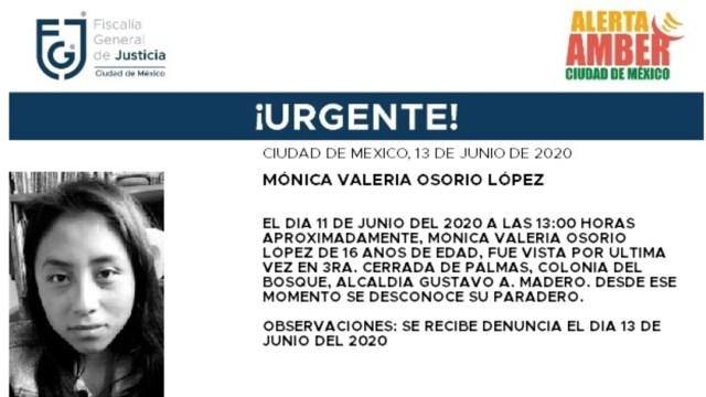 FOTO: Activan Alerta Amber para localizar a Mónica Valeria Osorio López, el 15 de junio de 2020