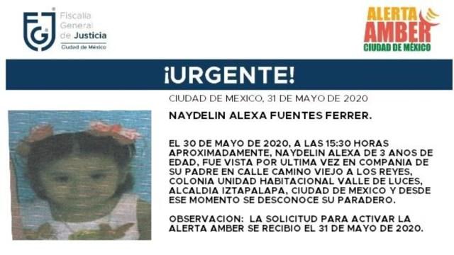 FOTO: Activan Alerta Amber para localizar a Naydelin Alexa Fuentes Ferrer, el 01 de junio de 2020