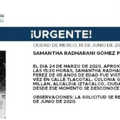 Activan Alerta Amber para localizar a Samantha Radharani Gómez Pérez