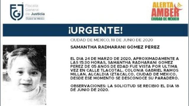 Activan Alerta Amber para localizar Samantha Radharani Gómez Pérez. (Foto: @FiscaliaCDMX)