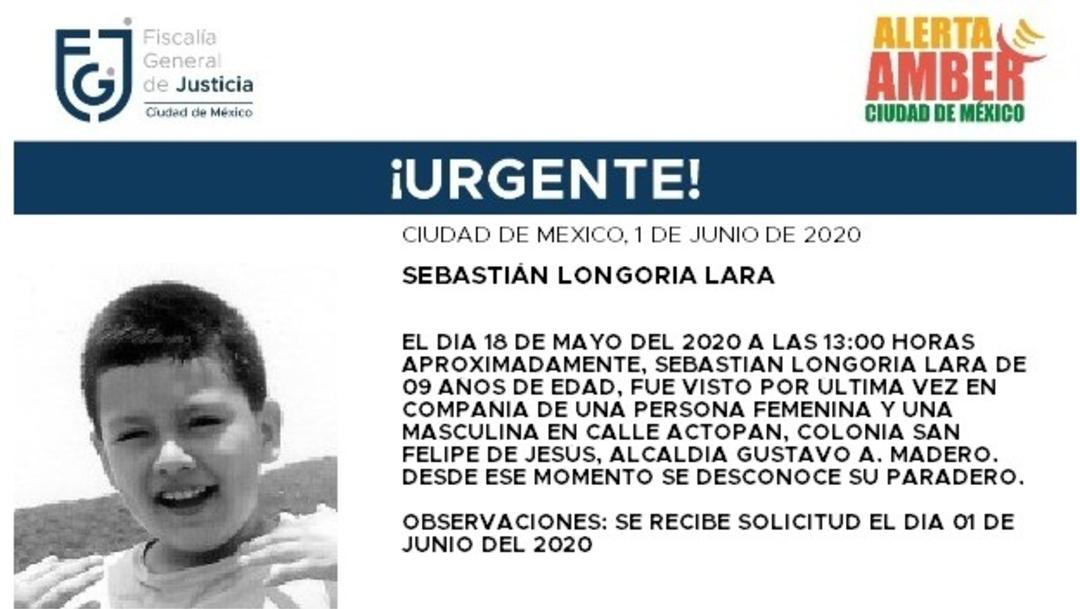 FOTO: Activan Alerta Amber para localizar a Sebastián Longoria Lara, el 02 de junio de 2020