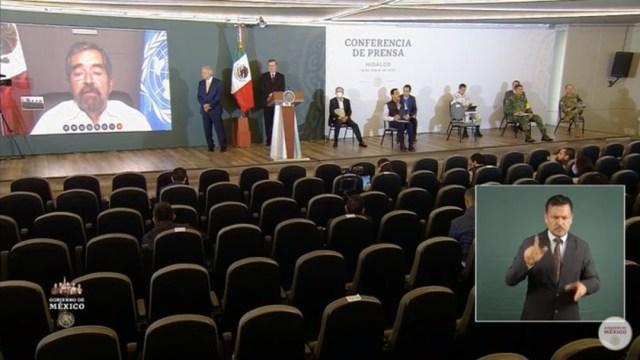 El presidente de México, Andrés Manuel López Obrador, el secretario de Relaciones Exteriores, Marcelo Ebrard, y al representante de México en la ONU, Juan Ramón de la Fuente. (Foto: Gobienro de México)