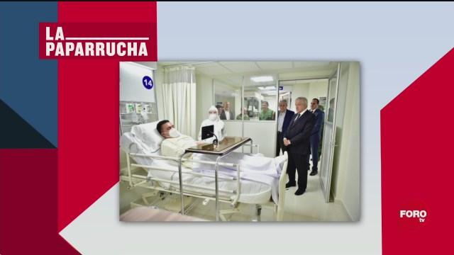 AMLO visita a enfermos de COVID en hospital, la paparrucha del día