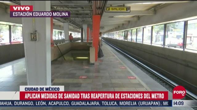 FOTO: aplican medidas sanitarias en metro de cdmx tras reapertura de estaciones