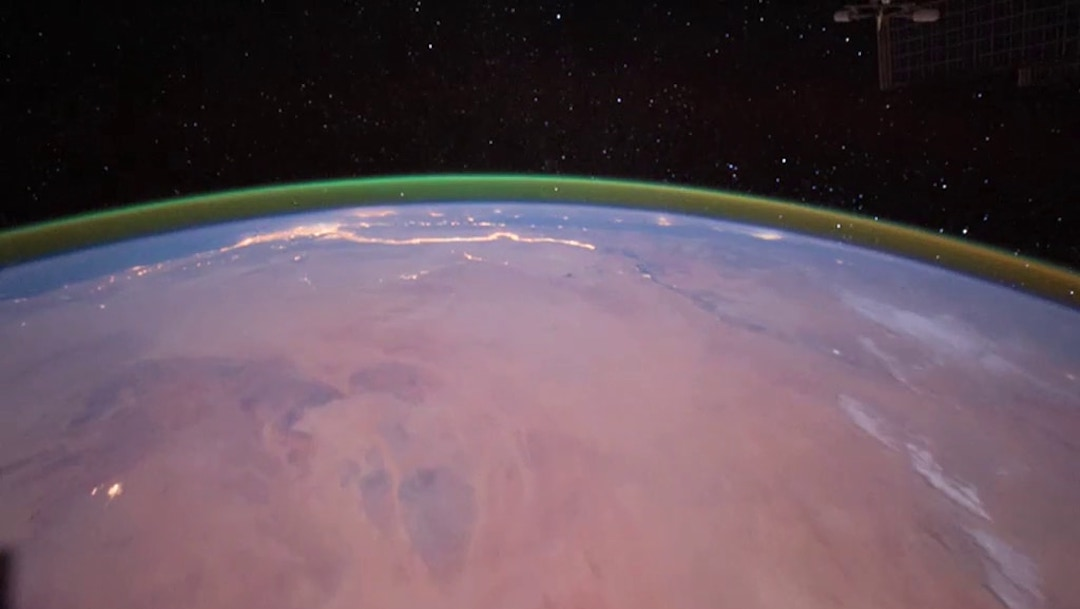 Brillo Verde Atmósfera Marte Foto Satelital Espacio