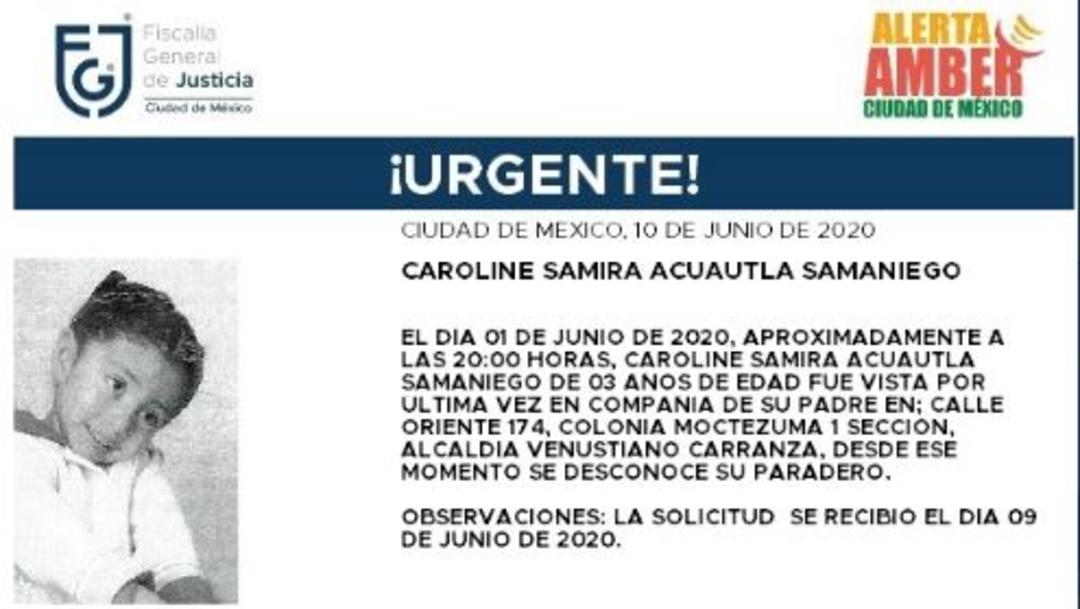 Activan Alerta Amber para localizar a Caroline Samira Acuautla Samaniego. (Foto: @FiscaliaCDMX)