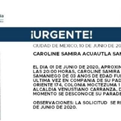 Activan Alerta Amber para localizar a Caroline Samira Acuautla Samaniego