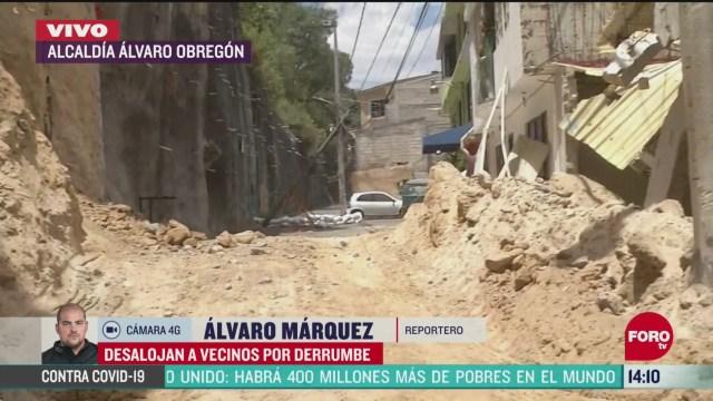 FOTO: desalojan a vecinos de alcaldia alvaro obregon en cdmx por derrumbe