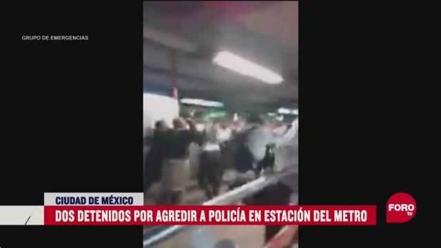FOTO: detienen a dos personas por rina en el metro de cdmx