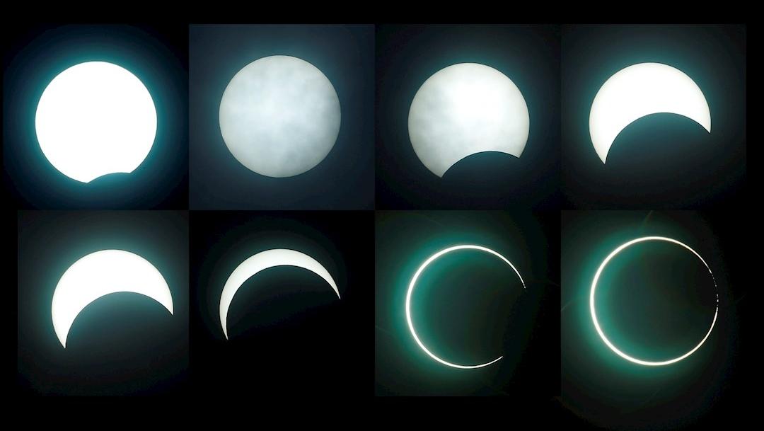 Una foto compuesta que muestra las fases del eclipse solar anular en la ciudad de Chiayi, Taiwán. (Foto: EFE)