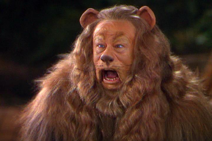 León del Mago de Oz, valentía