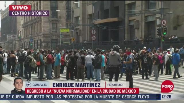 manifestantes bloquean avenida 20 de noviembre en regreso a la nueva normalidad en cdmx