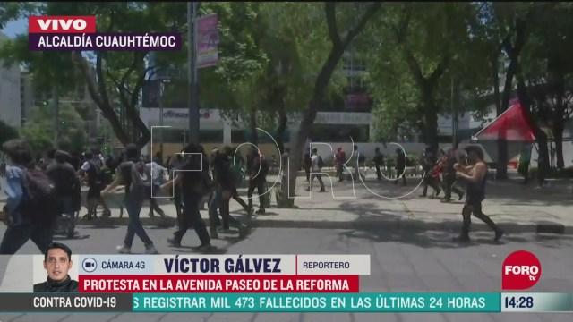 FOTO: manifestantes vandalizan negocios alrededor de paseo de la reforma