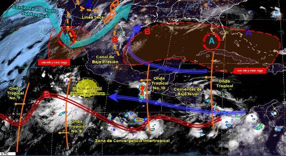 Mapa que muestra los sistemas meteorológicos del domingo 28 de junio. (Foto: https://smn.conagua.gob.mx/)