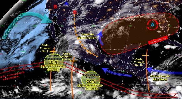 Mapa que muestra los sistemas meteorológicos del sábado 24 de junio. (Foto: https://smn.conagua.gob.mx/)
