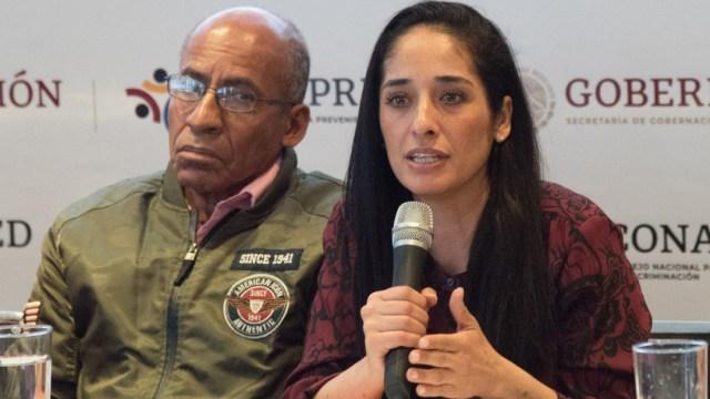 Mónica Maccise, titular de CONAPRED, y Pedro S. Peñalosa, de México Negro, durante una conferencia de prensa. (Foto: Cuartoscuro)