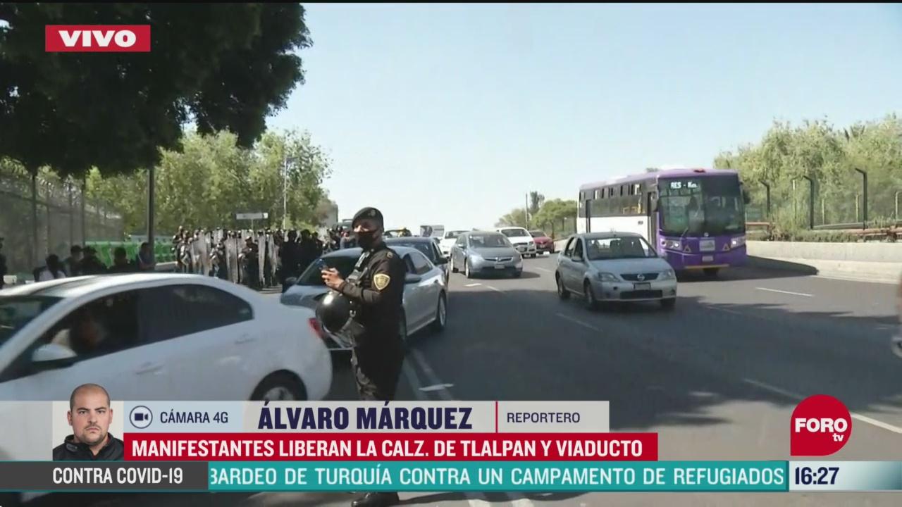 FOTO: policias liberan calzada de tlalpan cdmx